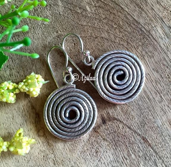 Spiral handmade sterling silver earrings