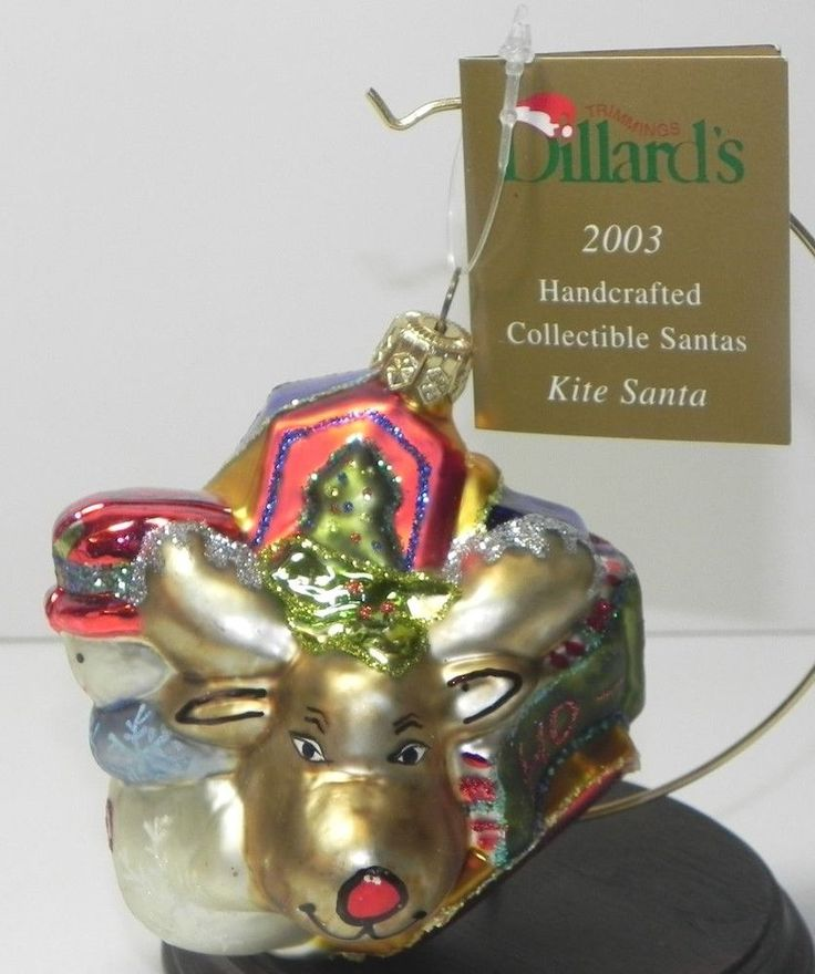 Dillards Christmas Ornament Santa Claus Kite Santa 2003 with Tag #Dillards
