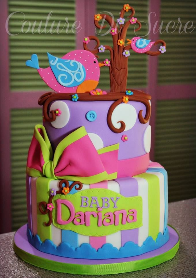 Pink, Lavender & Lime Stripes and Dots Birdie Cake | Cakes ...