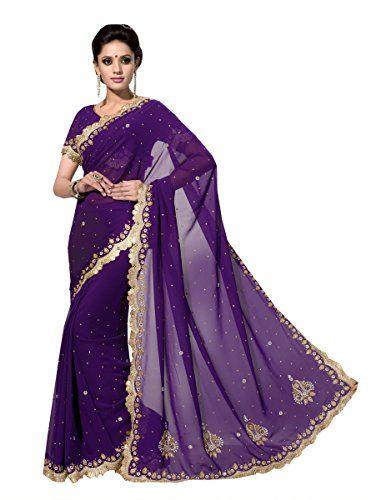 Indian Purple Wedding Wear Saree Fancy Zari Stone Border ...