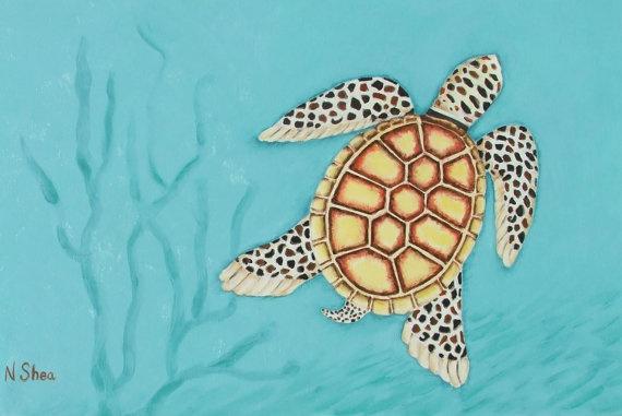 Sea Turtle Oil Painting