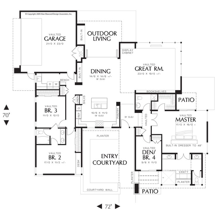 Mascord house plan 1243 outdoor living house plans and Outdoor living floor plans