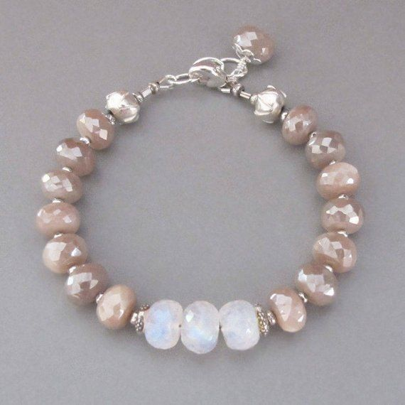 Mystic Pink Rainbow Moonstone Bracelet Sterling Silver Bead Etsy Moonstone Bracelet Beautiful Beaded Bracelet Beaded Bracelets