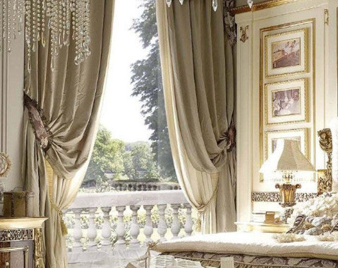 CHAMPAGNE and PORCELAIN Blue silk curtain dupioni …