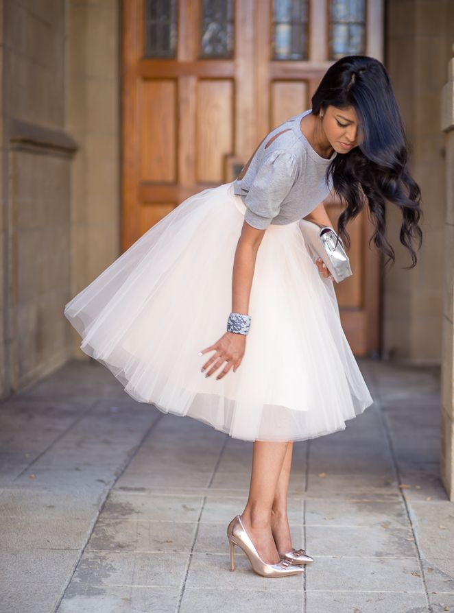 I just need to check my fabulous gold heels, but my adorable big tulle skirt is in the way!---- Not a bad problem to have! Love this look. Simple sweater, tulle skirt, metallic shoes and clutch. Easy and Glam! :: Fool For Tulle