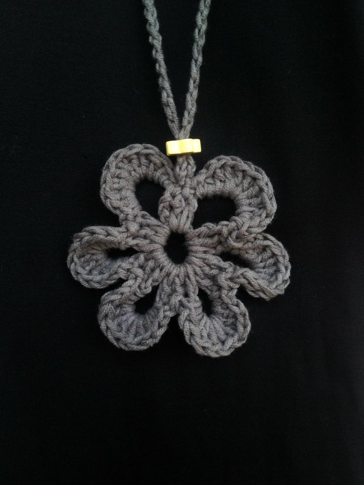 Crochet flower pendant, handmade crochet necklace, Grey Flower, Summer fashion by PixiesFairies on Etsy
