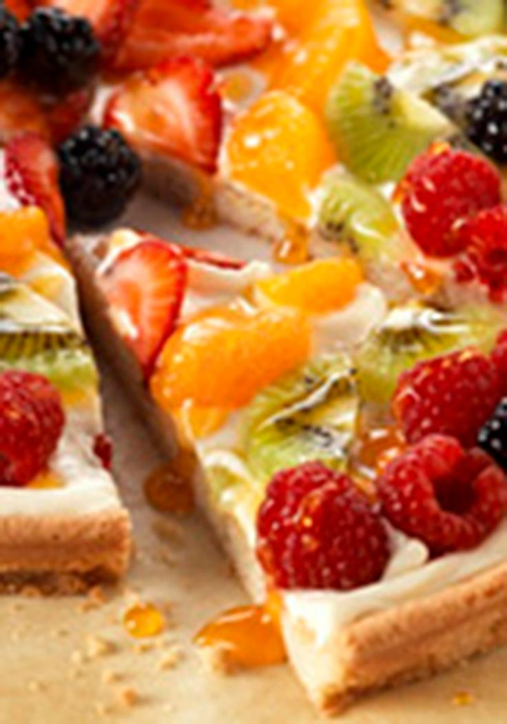 PHILADELPHIA Fruit Pizza — From a morning playdate to cocktail hour, this sweet recipe, made with a cookie dough crust and cream cheese center, is always the right thing to serve... #foods