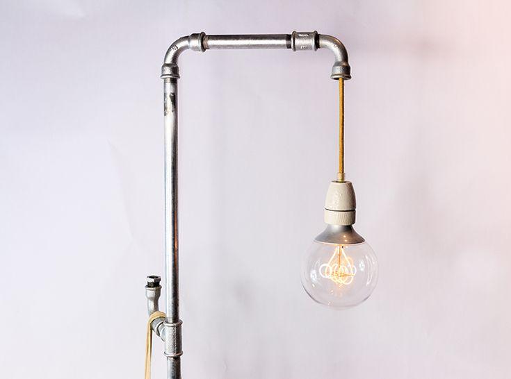 stehlampe aus rohren selber machen diy lampe rohrlampe diy anleitung deutsch. Black Bedroom Furniture Sets. Home Design Ideas