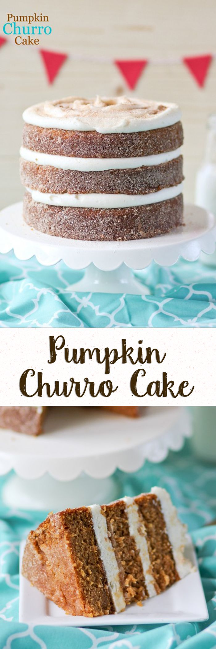 Pumpkin Churro Cake -- Moist pumpkin cake dipped in melted butter and coated in cinnamon sugar!