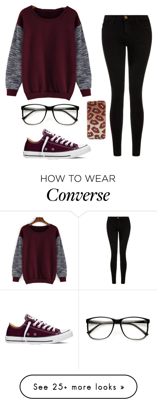 """Maroon and black❤️"" by laney-girl02 on Polyvore featuring Current/Elliott, Converse, women's clothing, women, female, woman, misses and juniors"