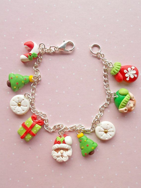 Christmas Bracelet Christmas Jewelry Winter Gifts Xmas Gift Christmas Gifts Christmas Bracelet Polymer Clay Charms Christmas Jewelry