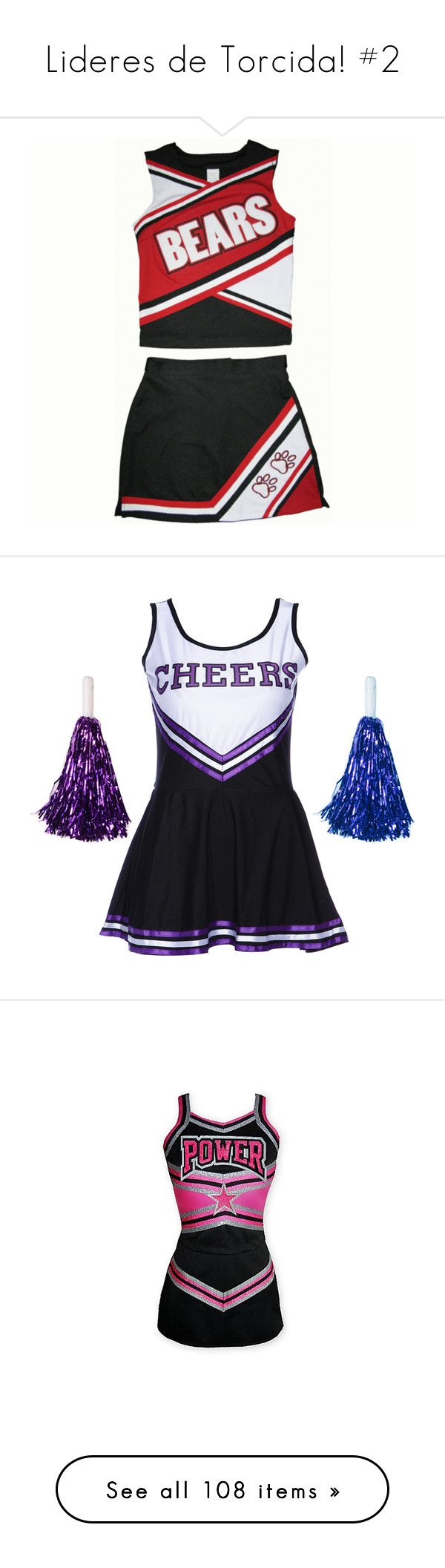 """""""Lideres de Torcida! #2"""" by franca-helo ❤ liked on Polyvore featuring cheer, cheerleading, sports, uniform, dresses, cheerleader, glee, vestidos, outfit and tops"""