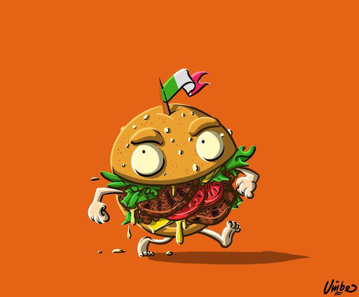 Burger #character #concept #illustration #digital #painting #umberto #sammartino #burger #food #junk