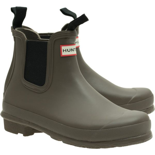 HUNTER Chelsea Swamp Green // Rubber ankle wellies (€109) ❤ liked on Polyvore featuring shoes, boots, ankle booties, wellington boots, waterproof ankle boots, short boots, short rubber boots и green booties