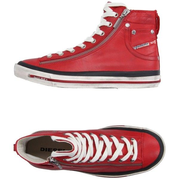 Diesel High-tops & Trainers (45.580 CLP) ❤ liked on Polyvore featuring shoes, sneakers, red, leather high top sneakers, red high tops, red hi top sneakers, leather high tops and red high top sneakers