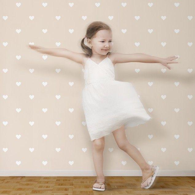 #Kindertapeten – Vliestapeten – No.YK58 Weiße #Herzen auf Creme – Fototapete Quadrat #Kinderzimmer # Kinder #Kids #Mädchen #Jungen #Trends #Neuheiten #geometrische #Formen #Streifen #Deko #Wandgestaltung #Tapeten #Wandtattoo