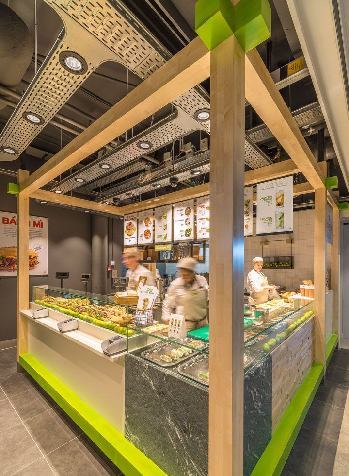 Enoki Fast Food Restaurant by VBAT, Utrecht – Netherlands. Enoki is a healthy fast food Asian concept, located at train stations across the Netherlands railway network
