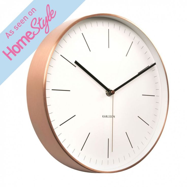 Karlsson Minimal copper and white wall clock