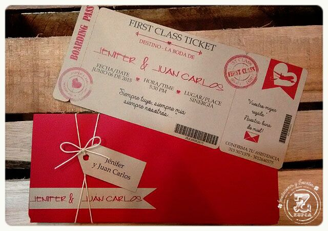 Ticket. Invitación de Boda.