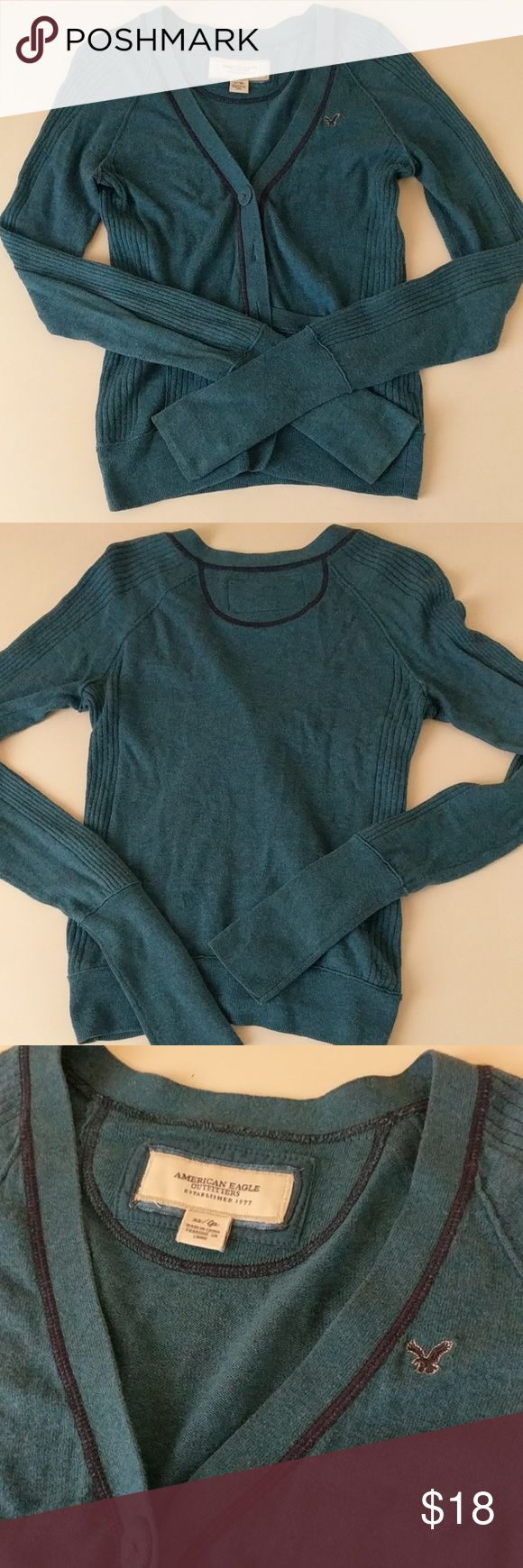 American Eagle Turquoise Knit Button Down Cardigan American Eagle turquoise knit cardigan. Nice for work or casual wear. Gently used. AE runs small so check their sizes online!  Wardrobe must-have! Bundle with other cardigans for a STEEP discount!  American Eagle Outfitters Sweaters Cardigans
