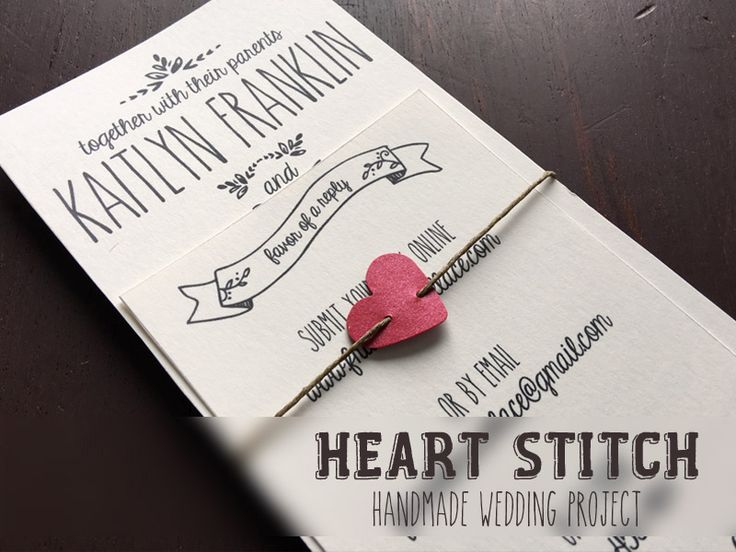 DIY paper heart wedding invitation belly band | Download & Print