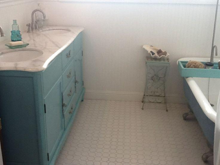 bathroom claw foot tub turquoise vanity octagon tile