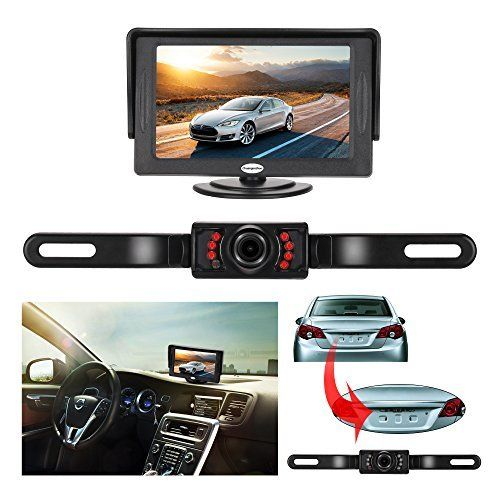 #marineelectronics Backup Camera and Monitor Kit For Car,Universal Wired Waterproof Rear-view License Plate Car Rear Backup Camera + 4.3…