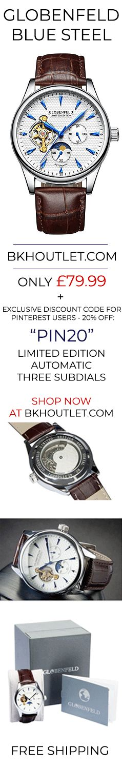 Visit BKHOUTLET.COM to order with free shipping in the UK and Europe.  The crystal glass face of our Blue Steel mens watch is made of scratch resistant mineral to remain timeless as it keeps your watch looking new.