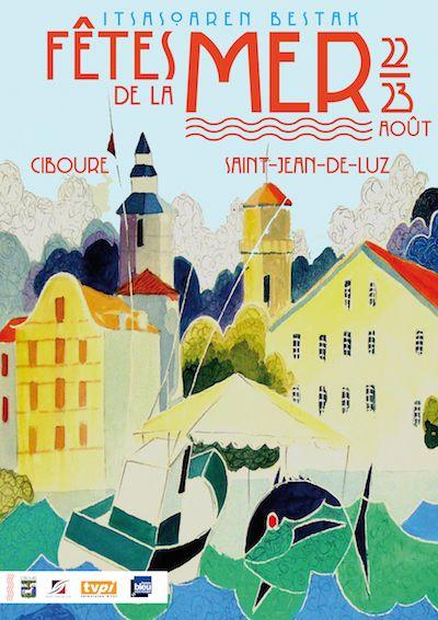 Vintage Travel Poster - Saint-Jean-de-Luz & Ciboure - Fêtes de la Mer - Région Aquitane - Département Pyrénées - France.