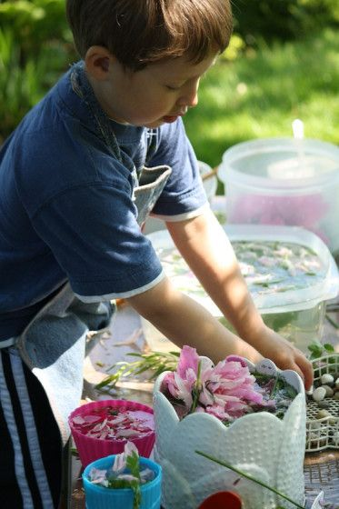 The Sensory Soup Kitchen - fresh herbs, flowers, stones and shells.