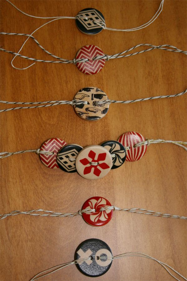 Wooden Button Bracelets :  Permanent Christmas Ribbon & Tags.  Have decorative button and intermix an initial button for reusable gift ribbon / tags