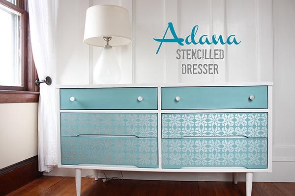 A Mid-Century Furniture Twist With Mod Floral Stencils