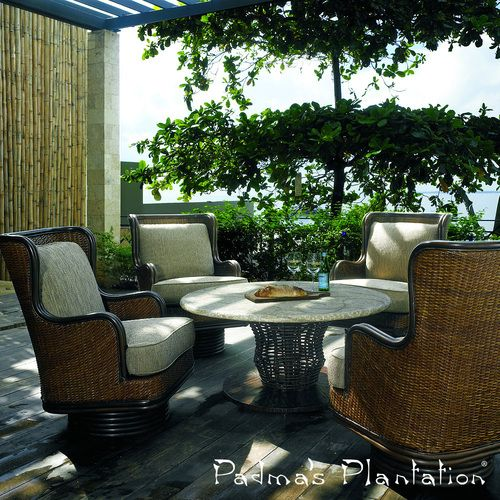 Padma's Plantation Palm Beach Outdoor #swivelrocker is hand-crafted of all-weather rattan peel over a heavy gauge vinyl tubing. #rockingchairs http://www.allmodernoutlet.com/padmas-plantation-palm-beach-outdoor-swivel-rocker/