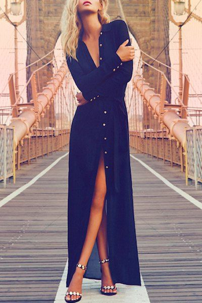 Blue Shirt Neck Long Sleeve Maxi Dress BLUE: Maxi Dresses | ZAFUL