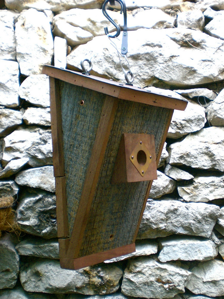 Craftsman Birdhouse From Reclaimed Barn Wood and Metal Roofing--Made to Order. $125.00, via Etsy.