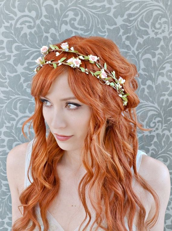 Bridal headband pink flower crown woodland hair by gardensofwhimsy