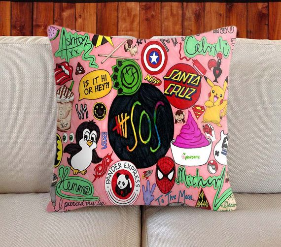 5SOS Pink Collage  Decorative Pillow Cover by twohalfone on Etsy!!!!!! NEEEEEEED NOW!!!!! ITS ONLY $16