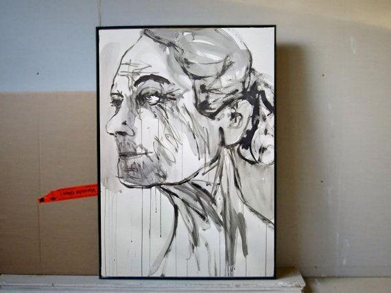 Extragroße Porträtmalerei  Schwarz-Weiße Kunst  von GalerieMiniMal