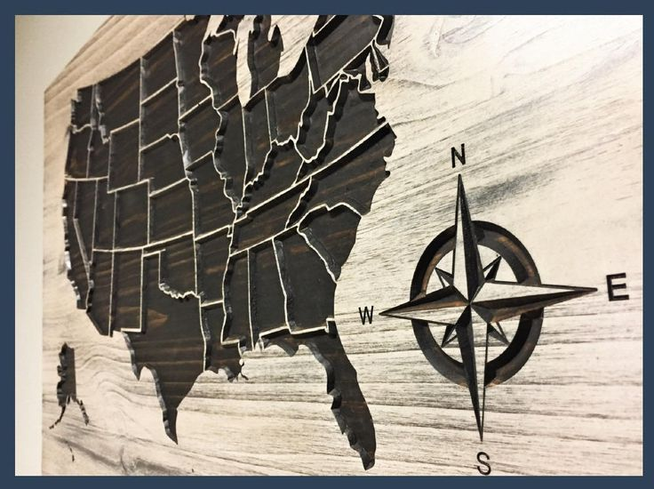 Us Map Wall Decor Compass Us Map Wall Art Wooden Map Family