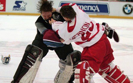 Tom Pidgeon, Associated Press, Mike Vernon, Patrick Roy, Detroit Red Wings, Colorado Avalanche