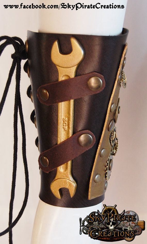 Steampunk Engineer Leather Bracer by SkyPirateCreations on Etsy