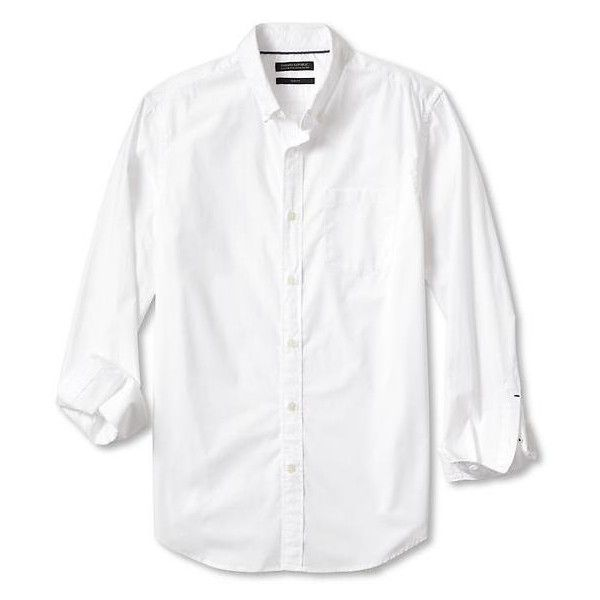 Banana Republic Camden Fit Custom Wash Banded Collar Shirt (£36) ❤ liked on Polyvore featuring men's fashion, men's clothing, men's shirts, men's dress shirts, white, mens button down dress shirts, mens collared shirt, mens button shirts, mens white dress shirts and mens banded collar shirts