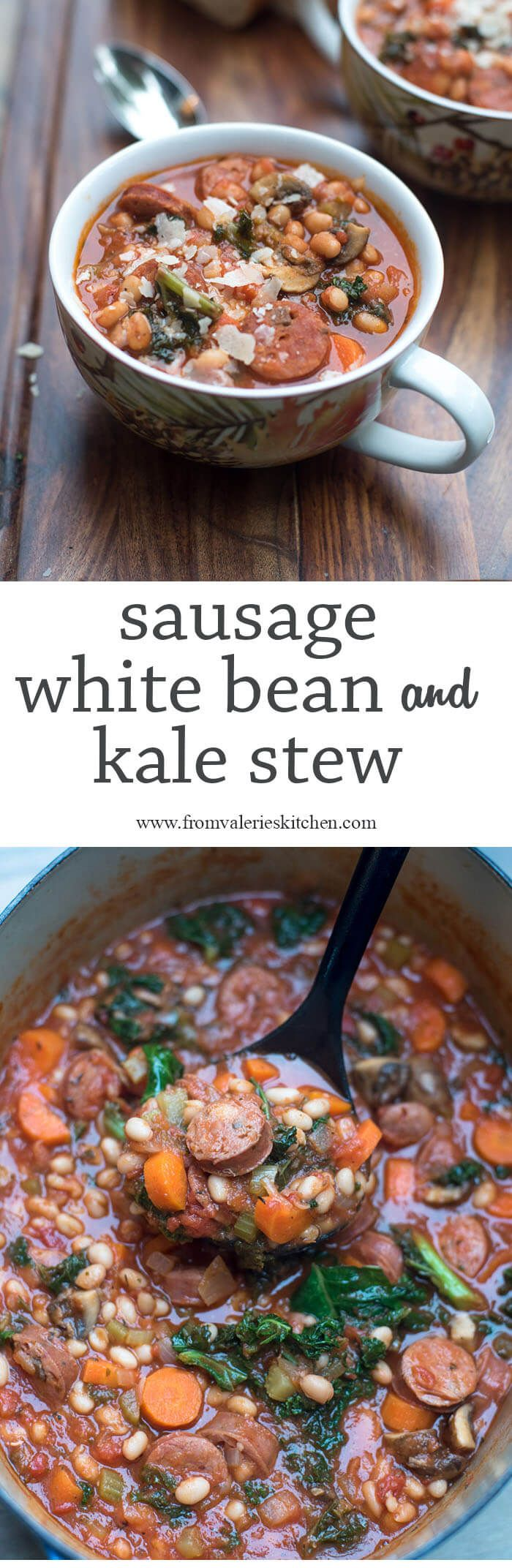 This rustic, comforting Sausage White Bean and Kale Stew is just the ...