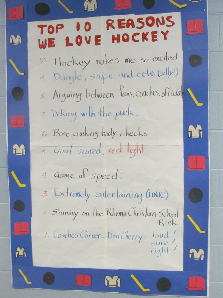 """School kids wrote the """"Top 10 Reasons They Love Hockey"""" at a school in Peterborough."""