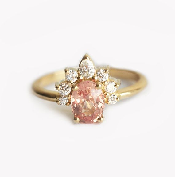 Oval Sapphire Ring with Diamond Crown, Peach Sapphire Engagement Ring with Oval Cut Peach Sapphire and Diamonds