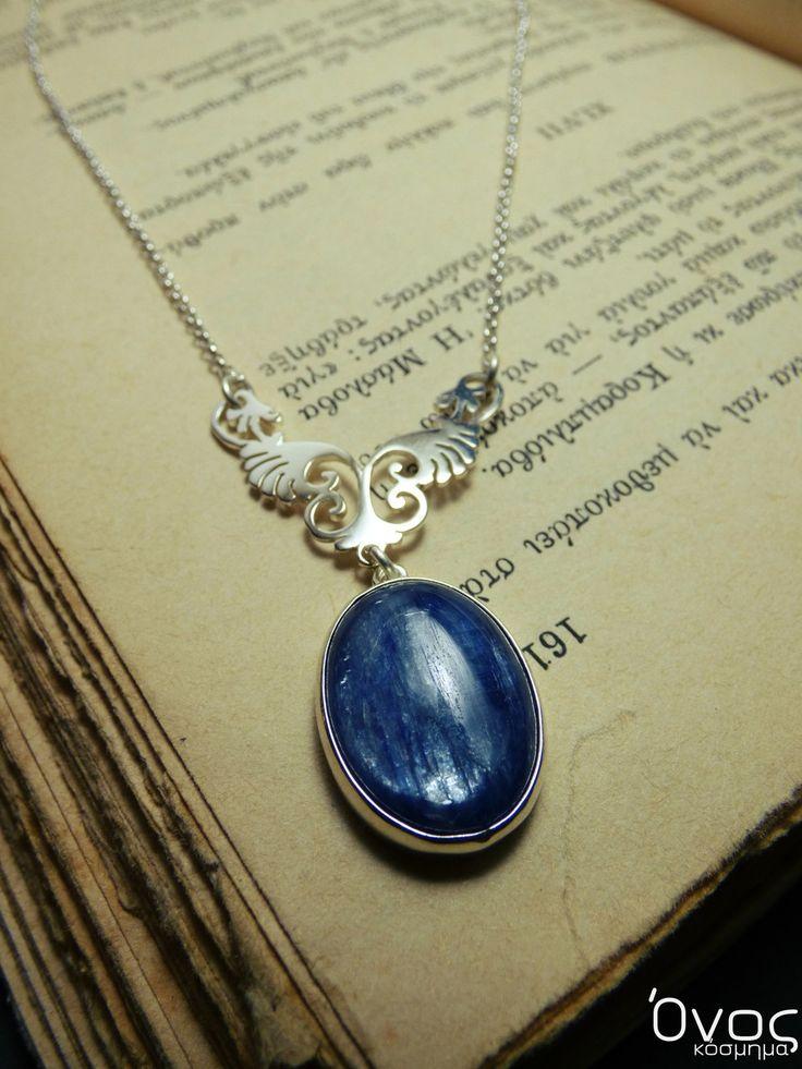 """"""" Blue Kyanite """" - Χειροποίητο μενταγιόν επάργυρο με ημιπολύτιμο λίθο Κυανίτη!"""