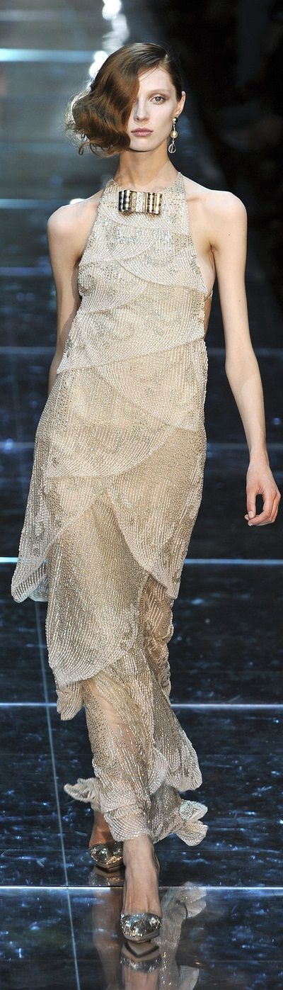 Armani Prive ~ Delicately Layered Nude Silk Halter Gown 2015