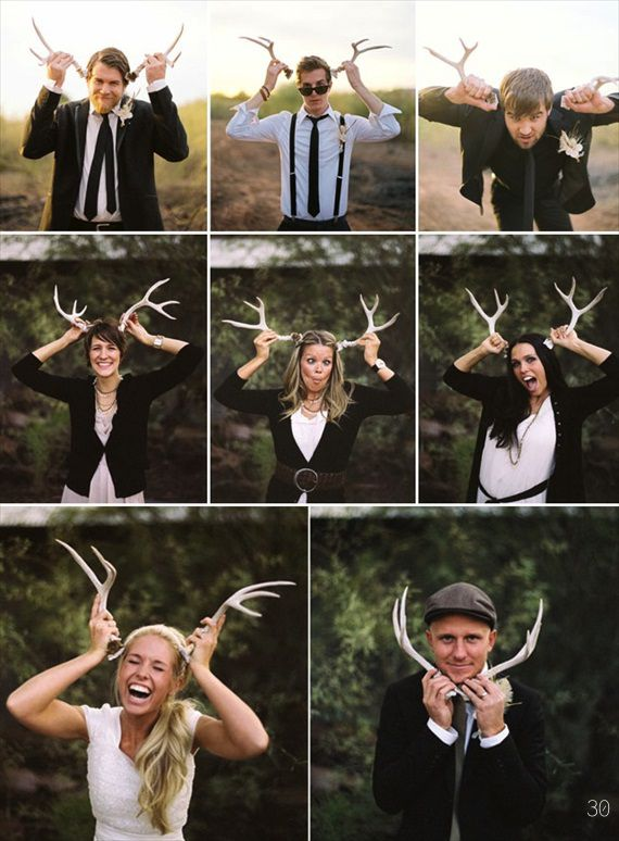 use faux antlers as a photo booth prop at your antler wedding (photo: ben christensen)