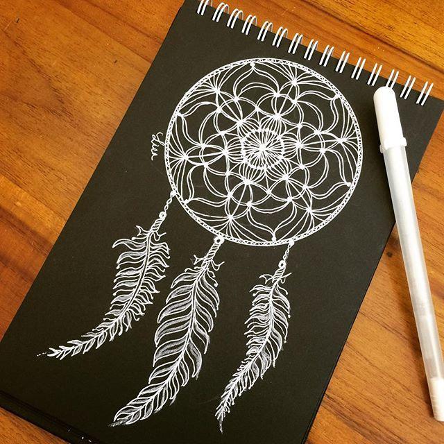 Dream catcher white gel pen on black paper…