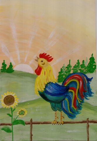 Здравствуйте, жители замечательной Страны! Хочу начать рубрику Рисуем с детьми. В ней я планирую выкладывать работы детей и немного этапов.  Этого петушка рисовали ещё весной с детками 6 лет.